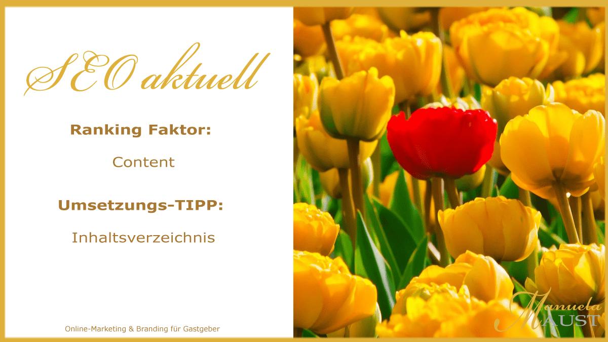 Rankingfaktor: Content – SEO TIPP: Inhaltsverzeichnis
