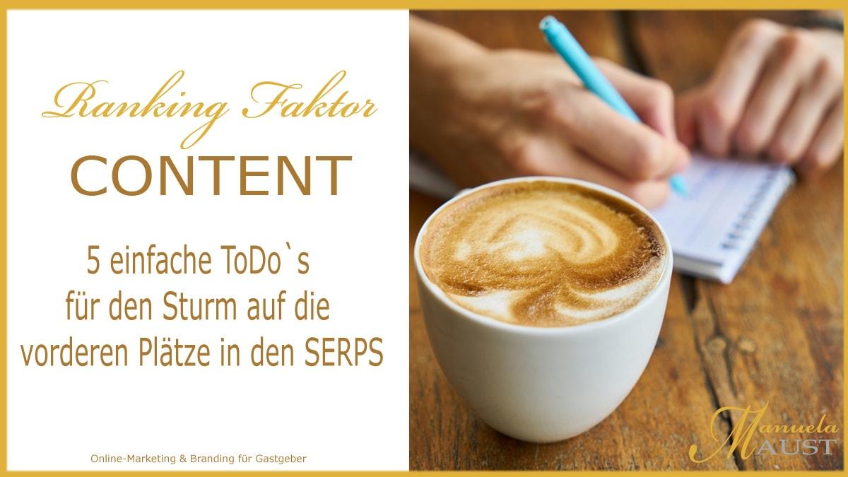 Rankingsfaktor Content: 5 einfache ToDo`s für den Sturm auf die vorderen Plätze in den SERPS