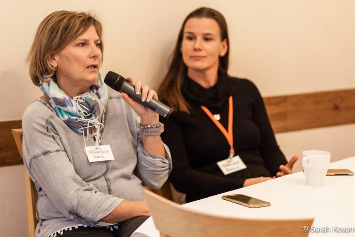 Manuela Aust beim Barcamp in Magdeburg mit Bianca Katzer
