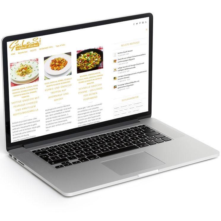 Webdesign und Konzept für einen Foofblog im typischen Blogger Style